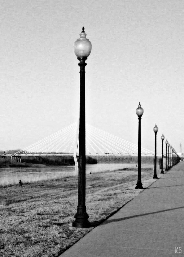 #black&white #nobody   #blackandwhite #lamposts #old #bridges #lines #triangles #angles #perspective #riverside #photography