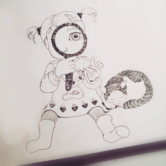 Looking for Santa #sketch #sketchbook #drawing #art #ink #graphic #child #kids #childhood