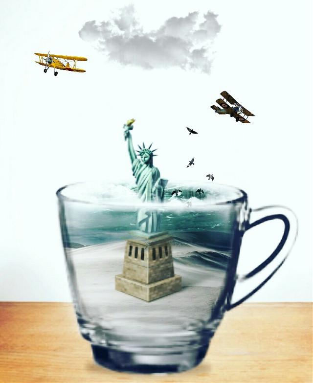 Lady Liberty.....  #surreal   #surrealism   #creative   #myart   #art   #madewithpicsart   #freedom