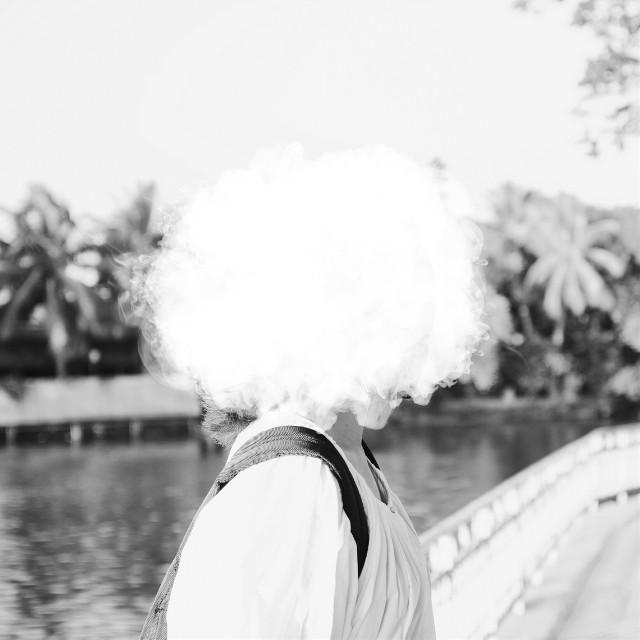 My head is in the cloud ☁ #portrait #blackandwhite #clipart #cloud