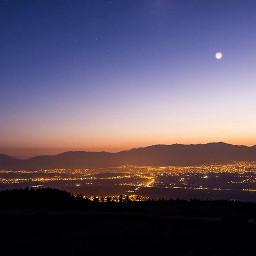 interesting city moon mountain evening