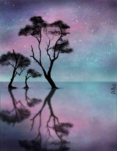wdptreeline drawing treeline silhouette starry