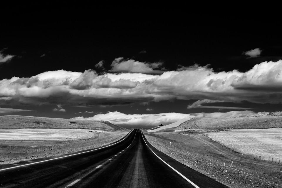 Two Lane Highway #blackandwhite#art #landscape#freetoedit