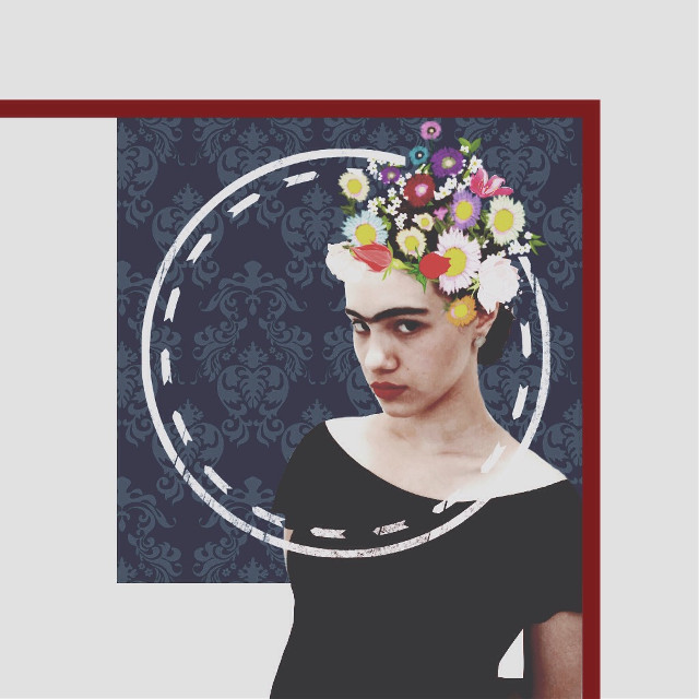 My beauty🌹🌺🌸🌻 #fridakahlo       #flowers  #blueandred  #eyebrow  #beautiful  #beuty  #makeup  #collage  #interesting #colorful  #unique  #flowercrown #cliparts