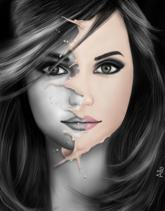 #WDPsplash  .Watch the video on http://youtu.be/wQmDrbc1XP0 10th place:82 votes, thank you very much :) Drawing made by me in PicsArt, no effects.Some references used    #drawing   #splash  #art  #blackandwhite  #surreal    #portrait