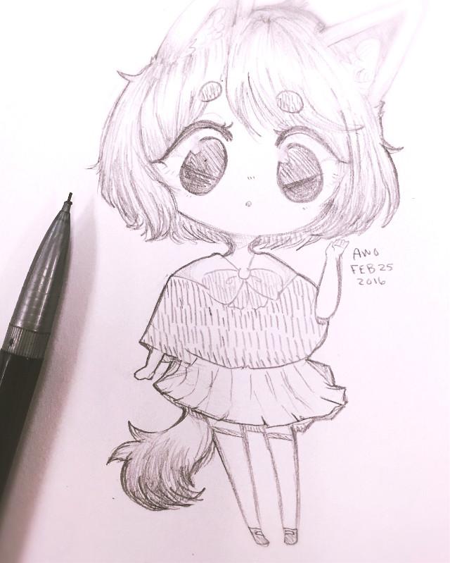 A doodle i did in class wwwww Inspired by sleepybirdie on instagram! >w<   #doodle #tradional #chibi