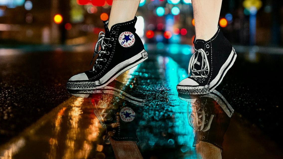 #converse #rain #street #light #city #drawing