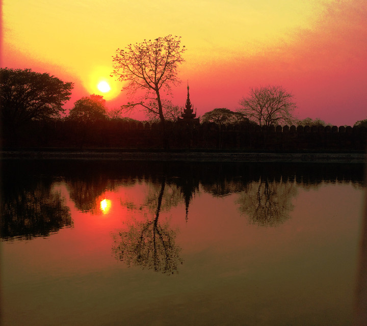 #ancient #moat #sunset