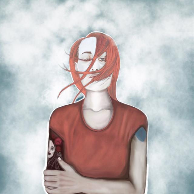 Society6.com/meakm redhead #redheadgirl #readheads #tatoo #sky #red #drawing #draw #painting #paintings #art #interesting #people #beautiful  #girl #meakm #tattoedgirl #tattooed #digitalart #2d #portrait #girlportrait #redtshirt #blueeyes
