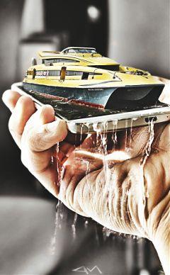 art madewithpicsart illusion boat colorsplash
