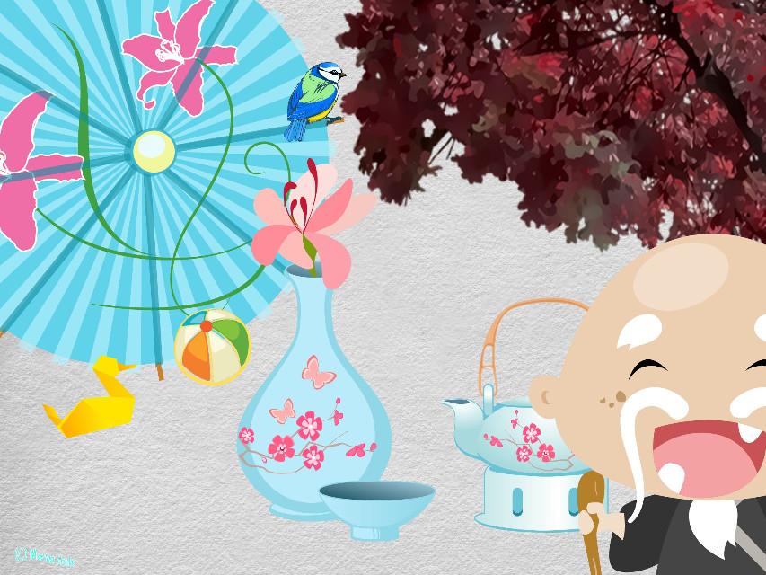Version I. #tea #teatime #picnic #teathings #umbrella #toys #oldman #tree #vase #flower #colorful #drawing #cliparts
