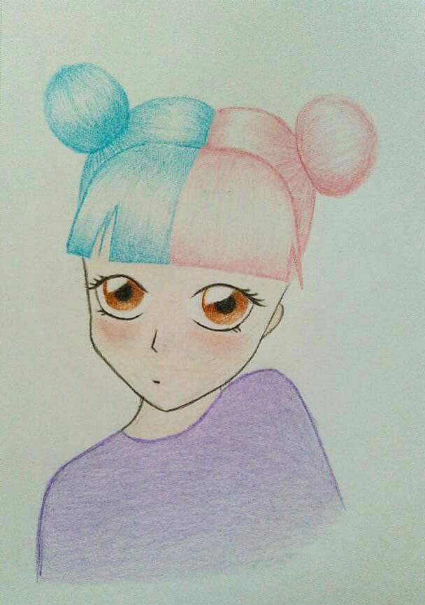 I like the hair a lot *u*  #colorful #cute  #pastel  #pencilart