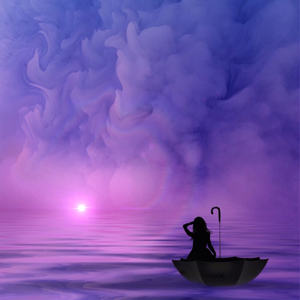 All our sweetest hours fly fastest.  -Virgil  #art #interesting #surreal #surrealism #purple  #pink #journey #unknown #umbrella
